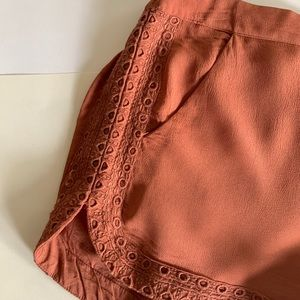 Terracotta embroidered shorts